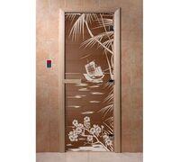"""Дверь для бани """"Голубая лагуна бронза"""" - DoorWood"""