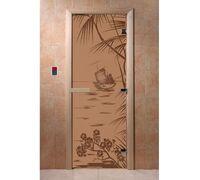 """Дверь для бани """"Голубая лагуна бронза матовая"""" Ольха - DoorWood"""