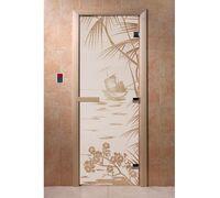 "Дверь для бани ""Голубая лагуна сатин"" - DoorWood"