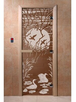 """Дверь для бани """"Лебединое озеро бронза"""" - DoorWood"""