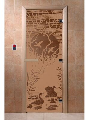 """Дверь для бани """"Лебединое озеро бронза матовая"""" - DoorWood"""