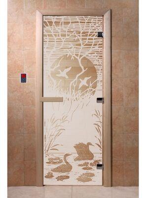 """Дверь для бани """"Лебединое озеро сатин"""" - DoorWood"""