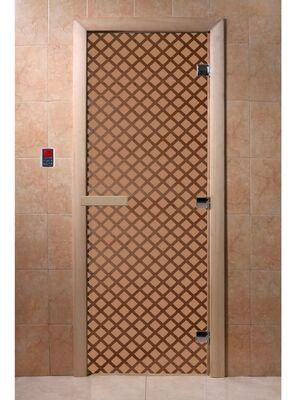 """Дверь для бани """"Мираж бронза матовая"""" - DoorWood"""