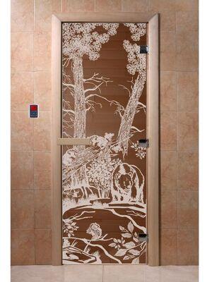 """Дверь для бани """"Мишки бронза"""" - DoorWood"""