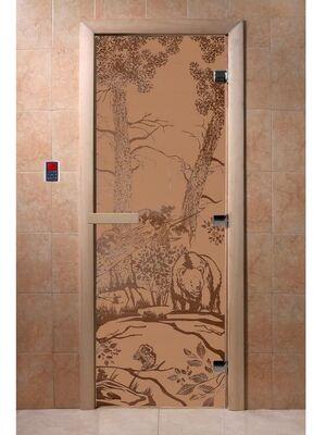 """Дверь для бани """"Мишки бронза матовая"""" - DoorWood"""