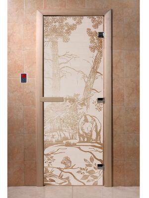 """Дверь для бани """"Мишки сатин"""" - DoorWood"""