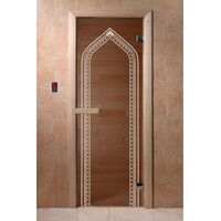 """Дверь для бани и сауны """"Арка бронза"""" 1900*700, 6мм, 2 петли - DoorWood"""