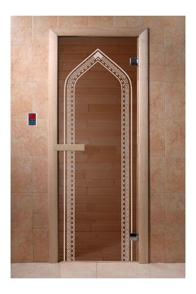 """Дверь для бани и сауны """"Арка бронза"""" 1900*700, 6мм, 2 петли"""