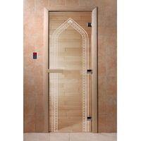 """Дверь для бани """"Арка прозрачная"""" Ольха - DoorWood"""