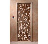 """*Дверь для бани и сауны """"Бамбук и бабочки"""" бронза 1900*700, 6мм, 2 петли Ольха - DoorWood"""