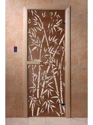 """Дверь для бани и сауны """"Бамбук и бабочки"""" бронза 1900*700, 6мм, 2 петли - DoorWood"""