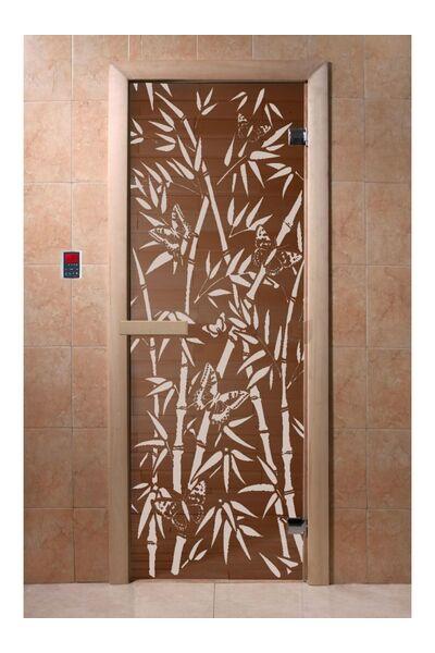 """Дверь для бани и сауны """"Бамбук и бабочки"""" бронза 1900*700, 6мм, 2 петли"""