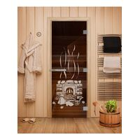 Дверь для бани Эталон с рисунком - DoorWood
