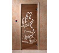 """*Дверь для бани и сауны """"Искушение"""" бронза 1900*700, 6мм, 2 петли Ольха - DoorWood"""