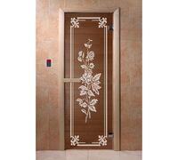 """*Дверь для бани и сауны """"Розы"""" бронза 1900*700, 6мм, 2 петли Ольха - DoorWood"""
