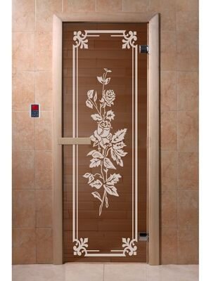 """Дверь для бани и сауны """"Розы"""" бронза 1900*700, 6мм, 2 петли - DoorWood"""