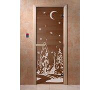 """*Дверь для бани и сауны """"Зима бронза"""" 1900*700, 6мм, 2 петли Ольха - DoorWood"""