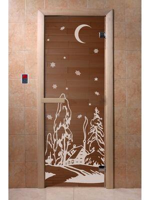 """Дверь для бани и сауны """"Зима бронза"""" 1900*700, 6мм, 2 петли - DoorWood"""