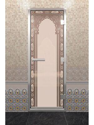 "Дверь для хамама ""Восточная арка"" бронза матовая"