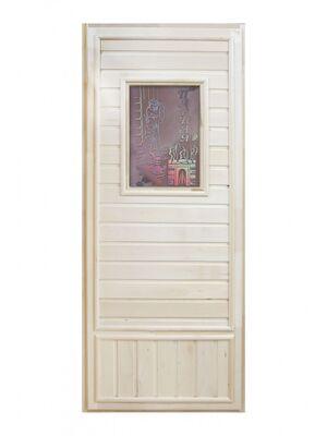 """Дверь для бани """"Вагонка со стеклом"""" Девушка в баньке (1850х750) - DoorWood"""