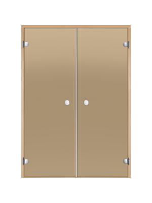 Дверь двойная Harvia STG 13*19 коробка осина, стекло бронза