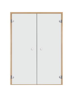 Дверь двойная Harvia STG 13*19 коробка ольха, стекло прозрачное