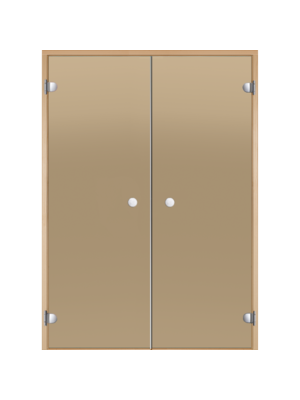 Дверь двойная Harvia STG 15*21 коробка ольха, стекло бронза