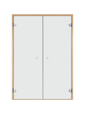 Дверь двойная Harvia STG 17*21 коробка осина, стекло прозрачное