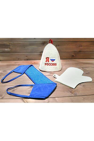 Набор д/бани Патриотичный (шапка, рукавица, мочалка) (Б32327)