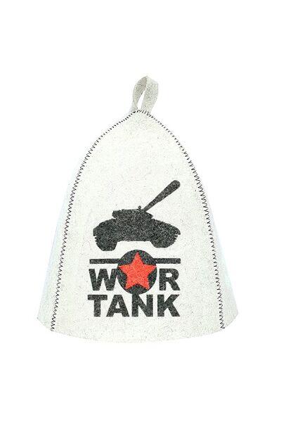 Шапка банная с принтом War tank, войлок белый (Б40268)
