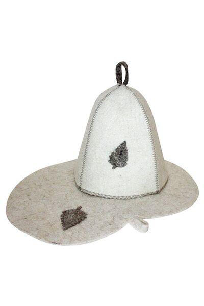 Комплект банный (шапка,коврик), войлок бел. (Б1601)