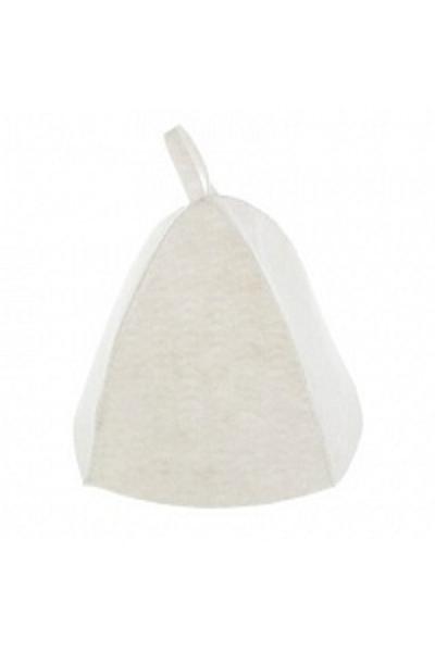 Шапка банная, войлок белый дублированный (Б04012)