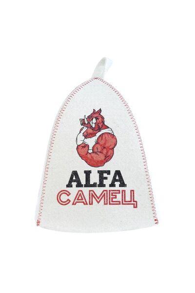 Шапка банная с принт Alfa Самец, войлок (А37047)