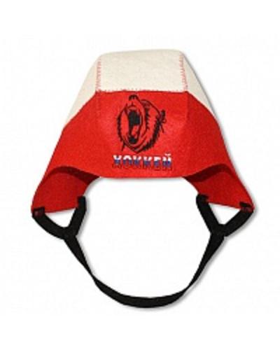 Шапка банная Шлем хоккеиста с вышивкой, войлок (Б40132)