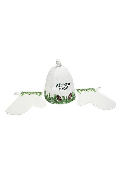 Набор банныйЕловый, в подар.коробке (шапка, две рукавицы) (А351)
