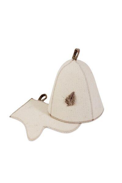 Комплект банный (шапка, рукавица), войлок (Б15)
