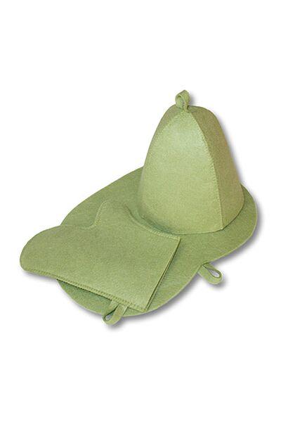 Комплект банный цветной (шапка,рукавица,коврик), войлок (Б1602)