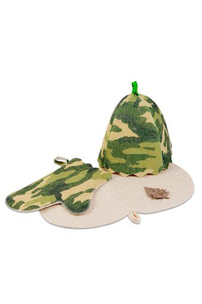Набор для баниКамуфляж(шапка, рукавица, коврик) (Б32307)