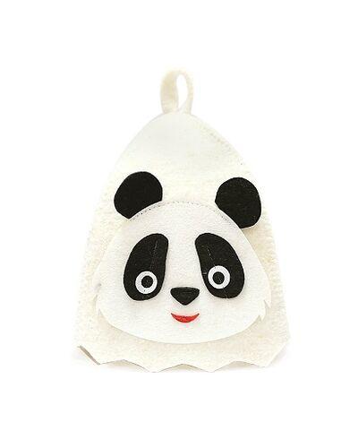 Шапка банная с аппликацией Панда, войлок белый (Б41008)