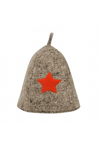 Шапка банная со звездой, войлок серый (Б40101)