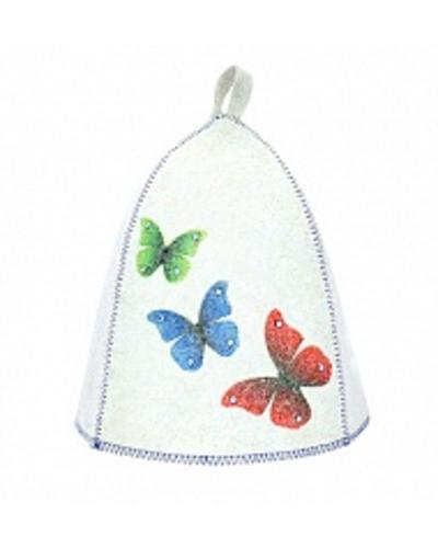 Шапка банная Бабочки. Стразы, войлок бел. (Б40258)