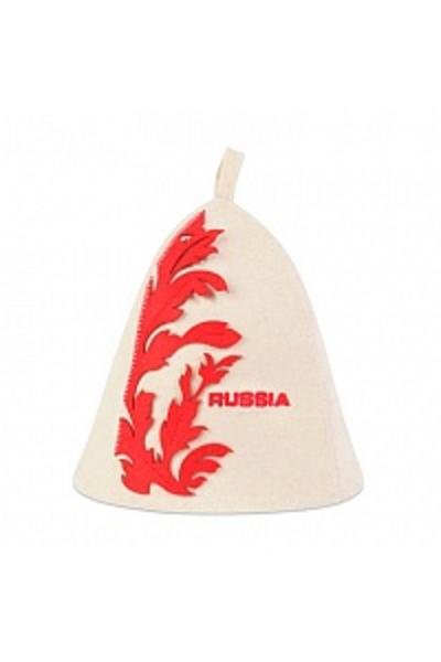 Шапка банная RUSSIA, фетр белый (Б4551)