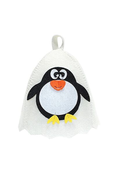 Шапка банная с аппликацией Пингвин, войлок белый (Б41005)