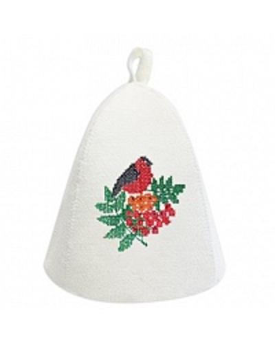 Шапка банная с вышивкой крестик Снегирь, фетр (Б4943)