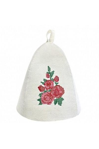Шапка банная с вышивкой крестик Цветы, фетр (Б4942)