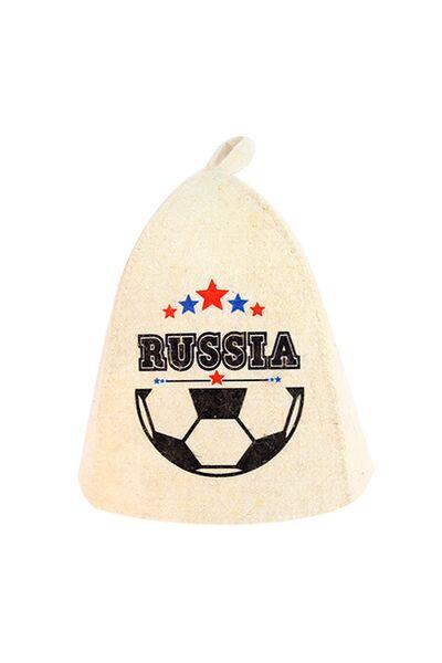Шапка банная, принт RUSSIA Футбольная, войлок (Б403141)