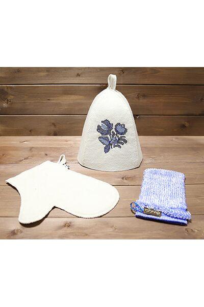 Набор д/бани Гжель (шапка, рукавица, мочалка) (Б32326)