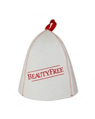 Шапка банная с вышивкой BeautyFree, фетр белый (Б4555)