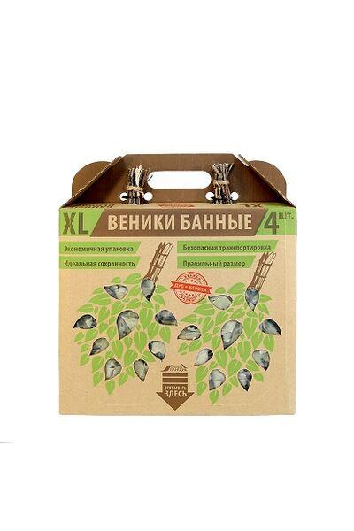 Набор веников в коробке (2шт - березовый, 2шт - дубовый)(Б1963)