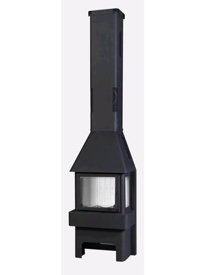 Печь-камин Бавария Три стекла черная (ПК 031) - ЭкоКамин